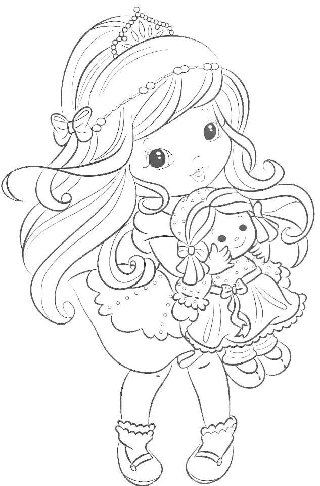 Dibujo Para Colorear De Princesa Con Muneca Quilts De Bebe