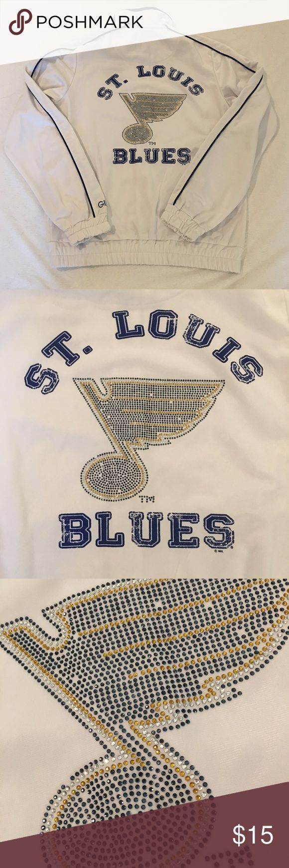 St Louis Blues Licensed NHL Track Jacket Worn only a few times! Official St Louis Blues hockey track jacket. **some crystals missing on back** This item is not fitted and cute at the waist. Jackets & Coats