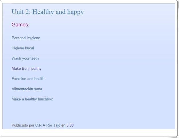 """Unidad 2 de Natural Science de 1º de Primaria: """"Being healthy"""""""