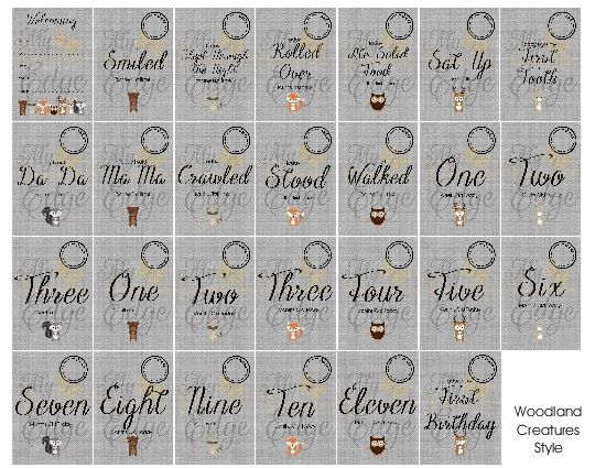 Baby Milestone Cards - Woodland Creatures - Instant Download by MyCreatve3dge on Etsy