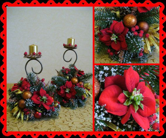 Candle holders with Red Poinsettiafir by FlowerKingdomArt on Etsy