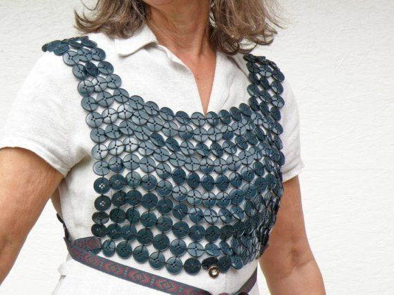 Button Bodice in JadeGreen  Wearable ART by P8ButtonArt on Etsy, €91.00: Buttons Crafts, Larp Armour, Buttons Armors, Halloween Costumes, Buttons Art, Larp Costumes, Wearable Art, Buttons Bodice, Costumes Ideas