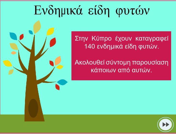 Παρουσίαση που απευθύνεται σε παιδιά και αφορά τα ενδημικά είδη λουλουλιών της Κύπρου. Περιλαμβάνει εικόνες και σύντομες πληροφορίες. Θα τη βρείτε στο http://www.cyprusbiodiversityforkids.com/epsilonnudeltaetamuiotakappa940-epsilon943deltaeta.html