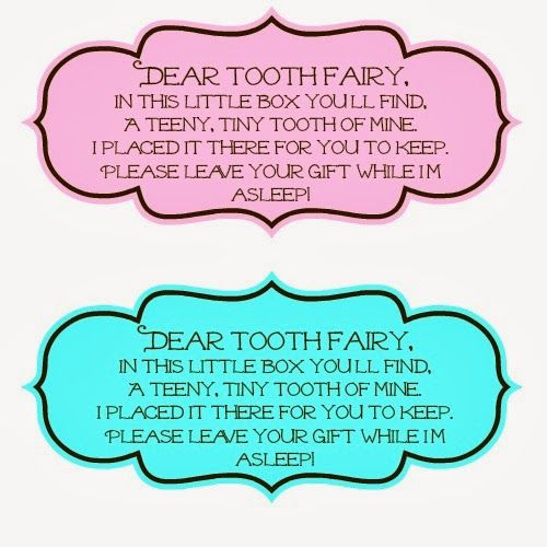 Sayings for the Tooth Fairy Boxes