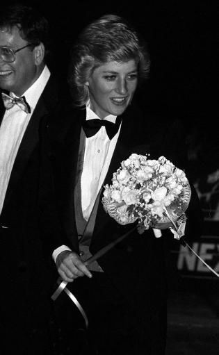 1988-04-20 Diana at a Greyhound Racing Event at Wembley Stadium in aid of the London City Ballet
