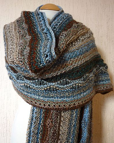 Stitch sampler shawl. I was thinking about making stitch sample squares into a blanket, but this looks much cuter.