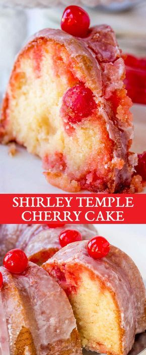 Relive your childhood memories with this easy shirley temple cake made in a bundt pan with cherry powdered sugar glaze. Shirley Temple Cake {An Easy Bundt Cake Recipe with Maraschino Cherries} via @thebestcakerecipes