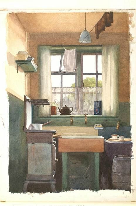 There is something very familiar about this painting, reminds me of our old scullery when I was a child  Frank Taylor Lockwood The Scullery, 15 Dalston Road 1940
