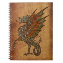 Ye Old Medieval Dragon Design Spiral Notebook