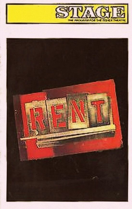 "Detroit, MI premiere of ""Rent"" at the Fisher Theatre, located at 3011 W. Grand Boulevard ... First National Tour ... April 8 - June 13, 1998 ...  Scenic Design by Paul Clay ...  Costume Design by Angela Wendt ... Choreographed by Marlies Yearby ... Libretto, Music, and Lyrics by Jonathan Larson ... Additional lyrics, and Original Concept by Billy Aronson ... Directed by Michael Greif."