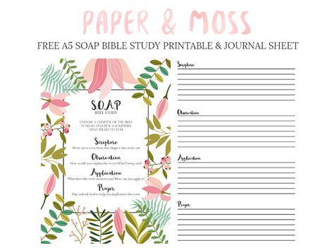 I'm using this beautiful printable for the SOAP Bible Study Method by Dana at Paper and Moss (http://paperandmoss.blogspot.com/2015/09/soap-bible-study-free-printable.html) for the next 30 days. I'll be blogging about it on faithtrustandbreastcancer.blogspot.com. So far, it's...surprisingly revealing and growing my relationship with God! Thank you, Dana, for providing such a beautiful, free printable!