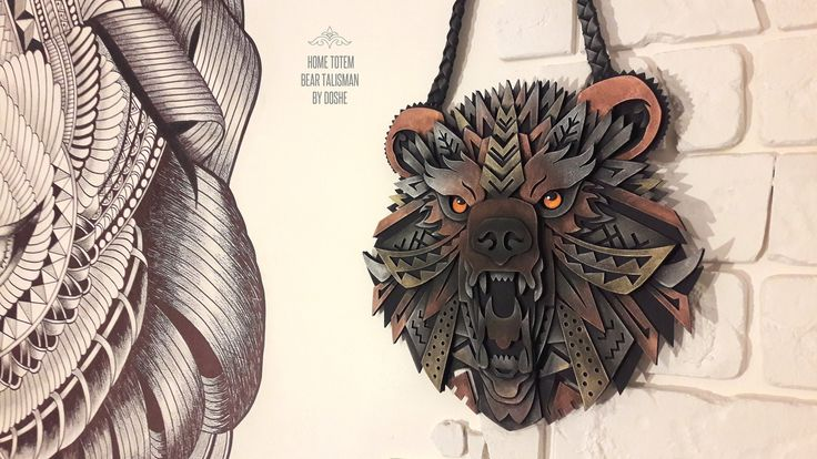 Stunning Bear totem / Bear head / Bear art / Bear gift / Totem animal / Totem art / Wall hanging / Gift for men / Talisman / Totem charms by DosheEcoDecorCharms on Etsy