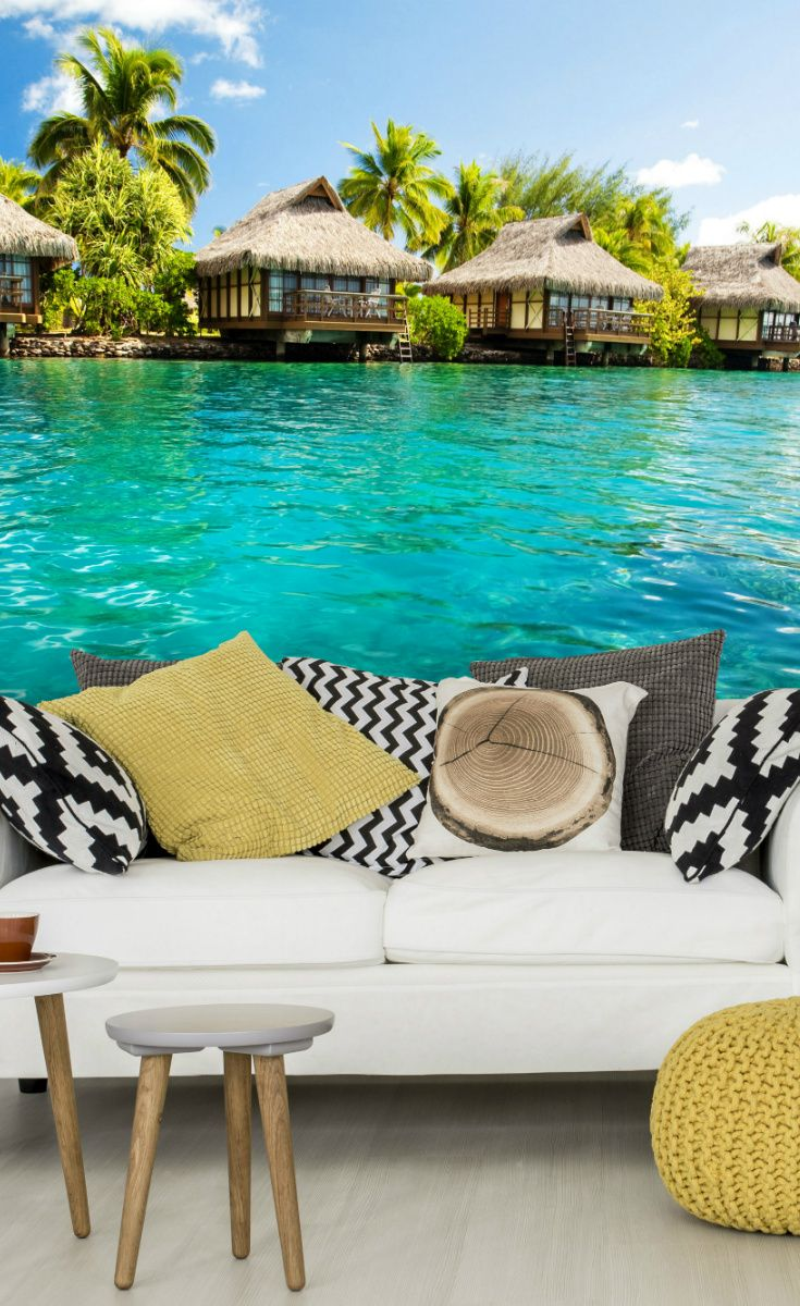 72 best breathtaking beach wall murals images on pinterest take yourself off to the beach with a tropical caribbean beach lagoon wallpaper wall mural amipublicfo Images