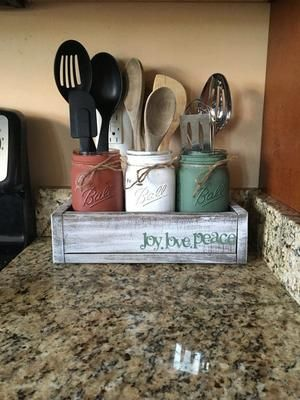 painted mason jar kitchen set, with whitewashed wood planter box, 3 utensil holders