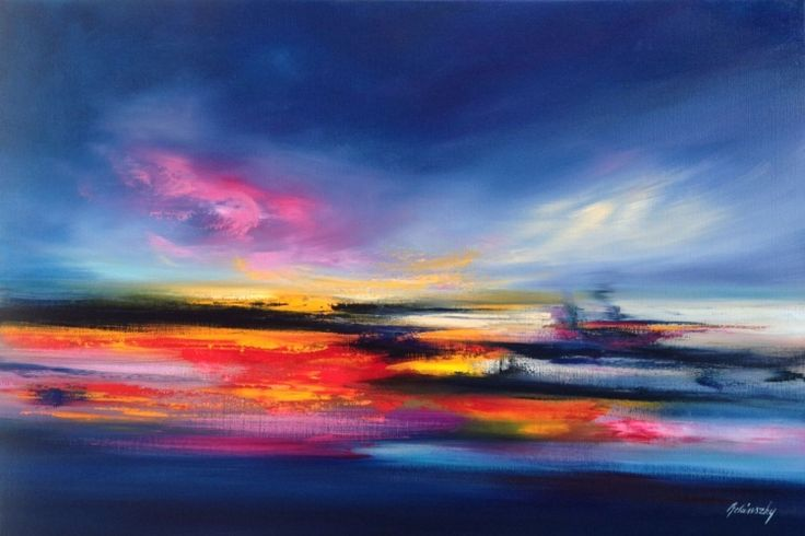 Vibrant Colours - 60 x 90 cm abstract landscape oil painting in pink, blue and red (2016) Oil painting by Beata Belanszky Demko | Artfinder