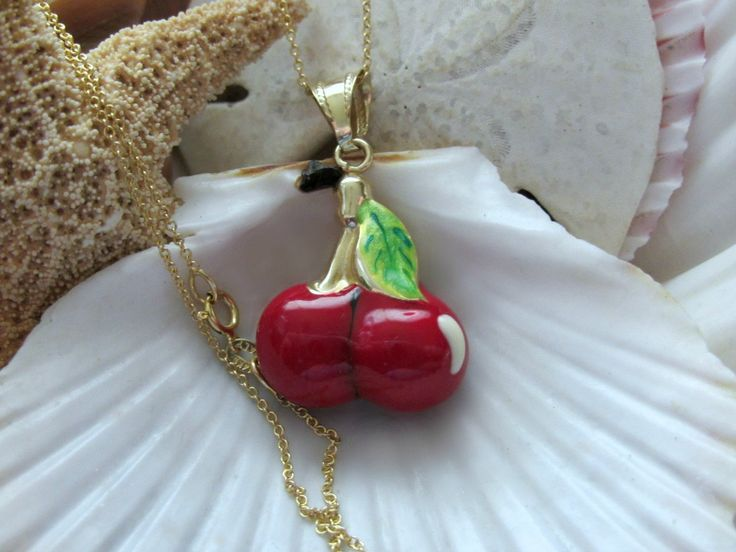 14k Enamel Red Cherry Pendant with 14k Italian Gold Chain 4.21g - pinned by pin4etsy.com