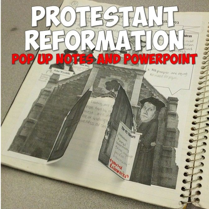 This super-engaging lesson has your students creating a pop up-like graphic organizer in their notebooks on Martin Luther and the Protestant Reformation! It includes the printable graphic organizer, a PowerPoint on Luther and beginning of the Protestant Reformation, plus even more bonus activities!