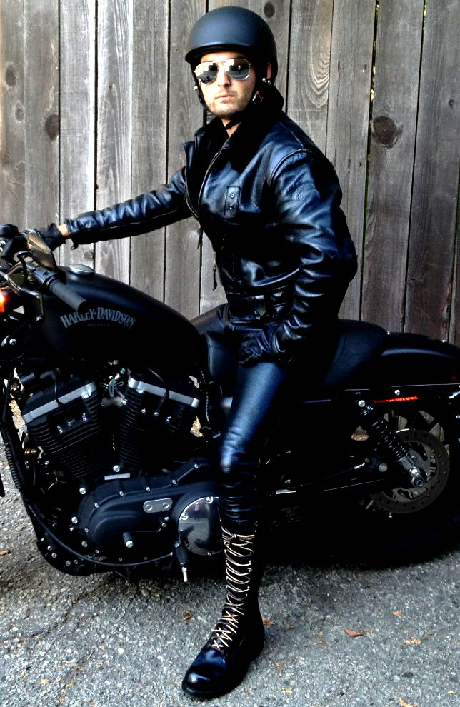 Me In My Leather Pants And Old Cop Jacket Motorcycle