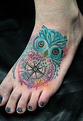 Watercolor Owl And Compass Tattoos On Foot