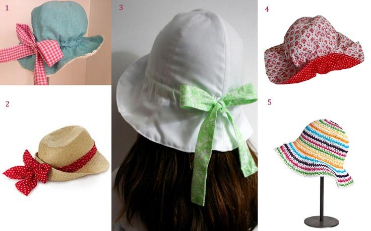 Chapéus de abas largas 1- Peixinho do Mar; 2- Accessorize; 3- Mint Lovers; 4- Maria Concha; 5- Zara Home Kids