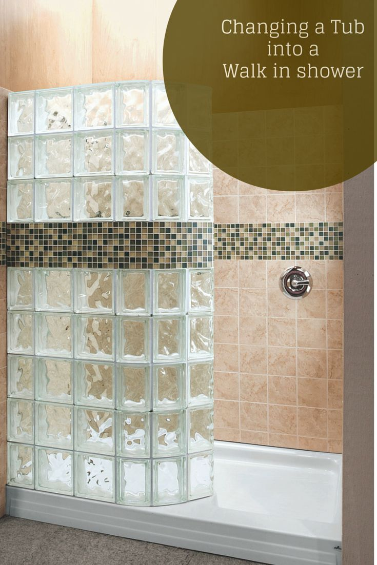 "Do you only have a 60"" wide tub space but you'd LOVE to have a walk in shower? Your dream can come true with this 60"" x 34"" curved glass block shower unit! Learn more here - http://innovatebuildingsolutions.com/products/glass-block/glass-block-shower  #InnovateBuilding"