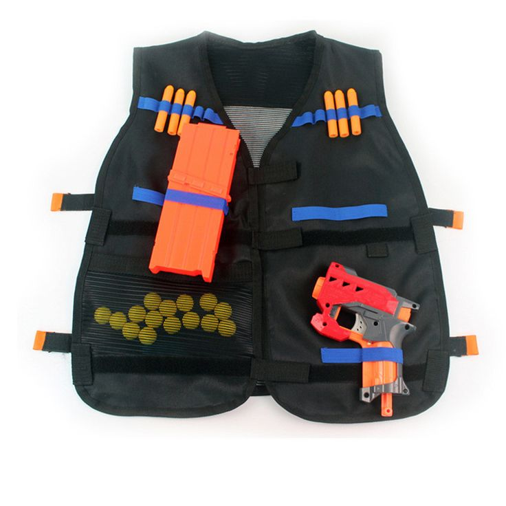 Black Nerf Tactical Vest Jacket Waistcoat Ammo Holder N-Strike Elite Pistol Bullets Toy Guns Clip Darts for Children Kids