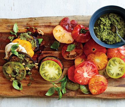Eggplant, Tomato and Pesto Stack. The pesto makes this combo super refreshing. See the recipe here. #SelfMagazine