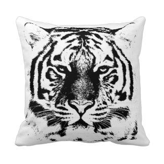 Black and White Tiger Face Throw Pillows