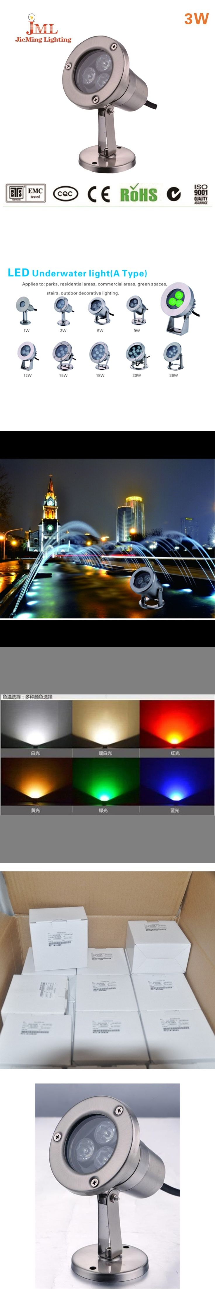 3x1w 12v Resistant Red LED Underwater Light for Landscape Fountain Pond Lighting IP68 Landscape water fountains led water
