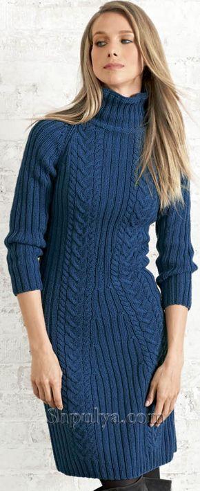 Размеры: 42/44 Вам потребуется: 800 г синей пряжи Lana Grossa Cool Wool Big (100 % мериносовой шерсти, 120 м/50 г)