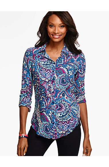 Long Drapey Shirt -Stained Glass Paisley - Talbots