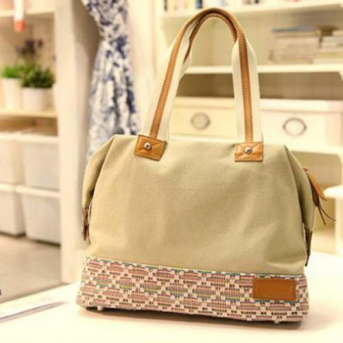 Khaki Canvas Double Handle Strap Shoulder Bag