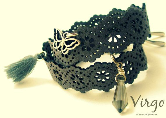 Handmade Double Leather Lace Bracetet with by VirgoHandmadeJewelry