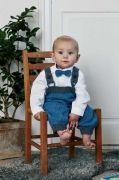 Sticka fina mysbyxor med hängslen till baby. Designad av Ninette Hartwich Storlekar:1/3 (6/9) 12/18 (24) mån.