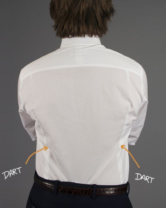 """If you have a problem with """"billowy"""" shirt fabric at the lower back, add back darts to your shirts."""