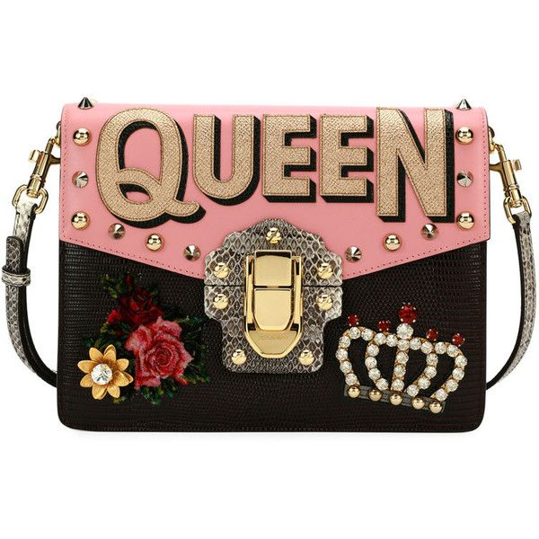 Dolce Gabbana Lucia Queen Embellished Shoulder Bag ❤ liked on Polyvore featuring bags, handbags, shoulder bags, clutches, purses, dolce gabbana handbags, man bag, embellished handbags, shoulder handbags and handbag purse