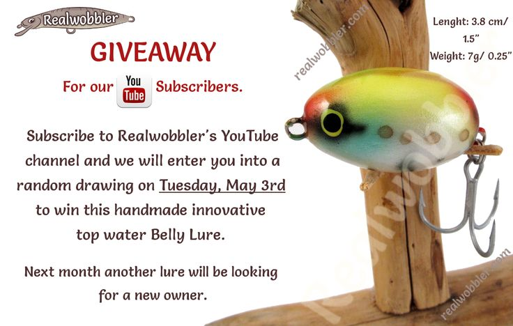 With the beginning of the new season for asp and pike in May, one of our YouTube subscribers will receive this innovative top water Belly Lure. To participate in the drawing, subscribe to our YouTube channel https://www.youtube.com/user/Realwobbler.  #fishing #giveaway #angling #lures #customlures #woodenlures #surfacelures #handmadelures #crankbait #swimbait #angeln #spinnfischen #kunstköder #wobbler #oberflächenköder #pesca #señuelos #риболов #рибалка #спиннинг