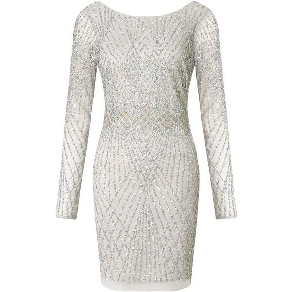 Aidan Mattox Long Sleeve Beaded Cocktail Dress, Silver (€340) ❤ liked on Polyvore featuring dresses, short dress, silver, white maxi dress, long sleeve dress, short white cocktail dress, maxi dress and short sleeve cocktail dress