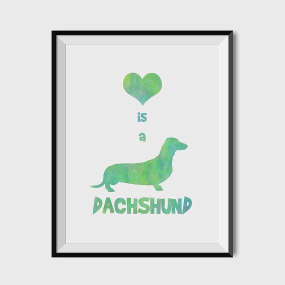 DACHSHUND Art Print Watercolor of Dachshund Printable by WallKandi