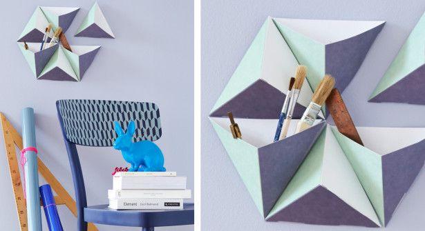 Pliage en papier : un rangement mural