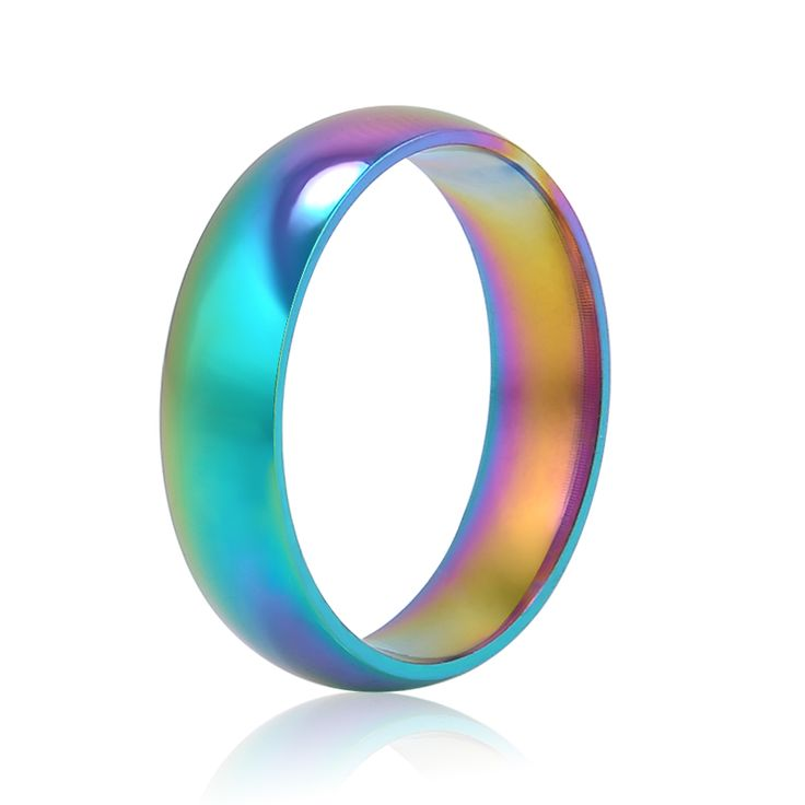 Men Women Rainbow Colorful Ring Titanium Steel Wedding Band Ring Width 6mm Size 6-10 Gift free shipping //Price: $3.99 & FREE Shipping //     #hashtag1