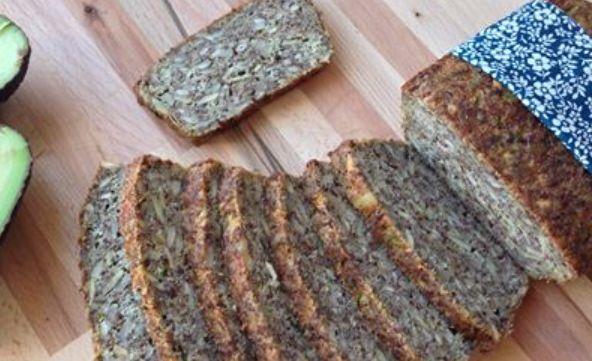 Glutenfrit rugbrød – stenalderbrød. 1 lille rugbrød – ca. 20 skiver 1 dl mandler 1 dl hørfrø 1/2 dl solsikkefrø 1/2 dl sesamfrø 1/2 dl græskarkerner 1/2 dl FiberHUSK eller HUSK malet til mel i blender eller kaffemølle 1 tsk. salt 1-1,5 dl revet squash 2 æg 1/4 dl olivenolie