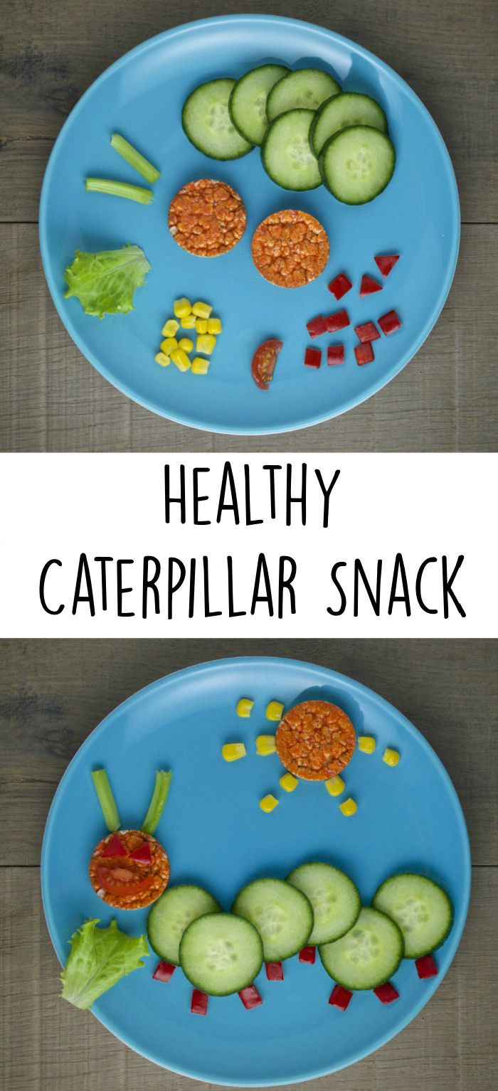 healthy caterpillar snack for kids made from rice cakes and vegetables. Good way to get kids excited to eat their veggies!