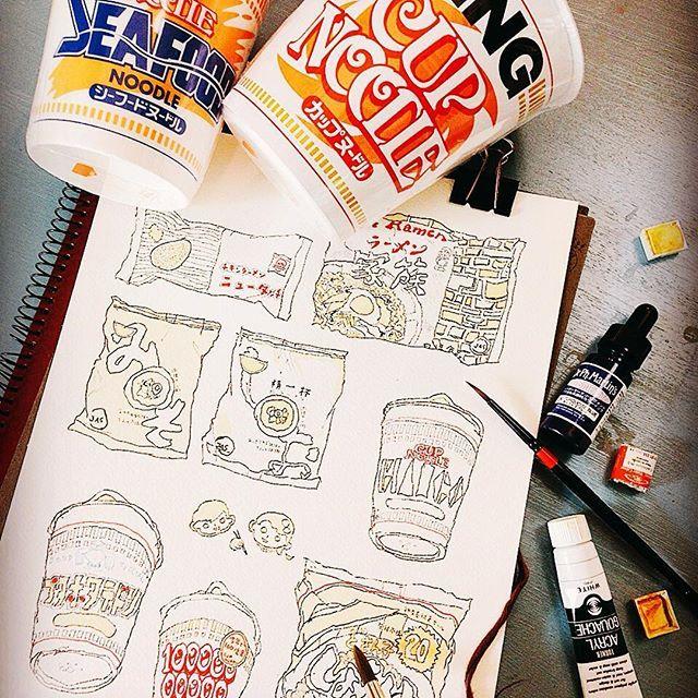 夏休み、時々息子の昼食用(=^x^=) Do you like cup noodle?  #japanesefood #cupnoodles #nissin  #noodles #big #king #日本食 #日清 #カップラーメン #ラーメン #色塗り