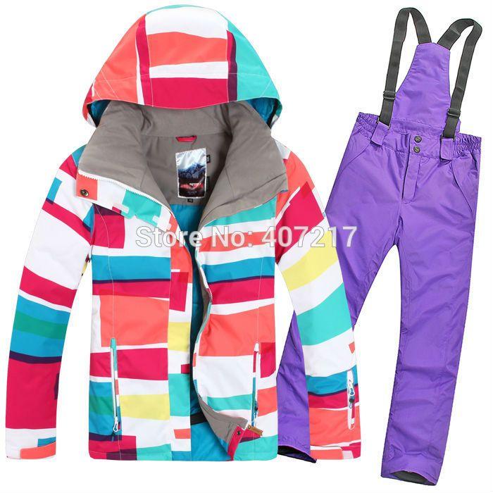 2015 Новых женщин лыжный костюм дамы сноуборд одежда для лыжников красочные полосы куртка + фиолетовые штаны водонепроницаемый дышащий 7 цвета
