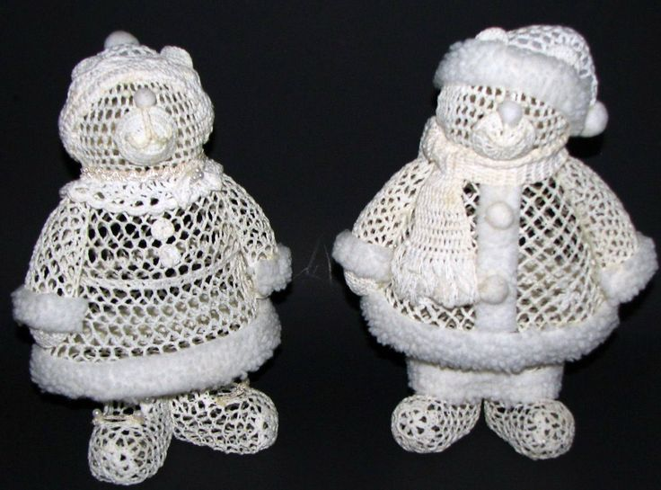 """Crocheted Mr. & Mrs. Bear; approx. 10"""" tall.  There is no pattern for these; commercially mass-produced and made in China.  Sold by Kmart in the late 70's or early 80's under their Trim-a-Home label.  Just one of many in series of Crocheted Decorations."""