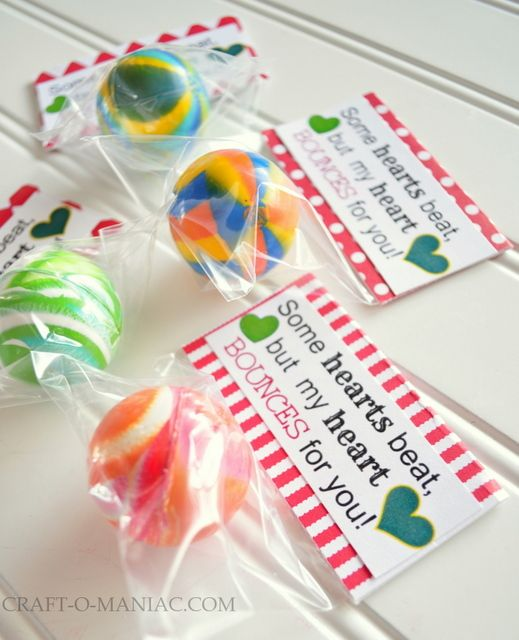 """Our fun No Candy """"Play on Words"""" Valentine's Day series continues (I do hope you are enjoying these cute Valentine's Day gift ideas and are not too bored with us!!). Today we have this super fun little bouncy ball gift…"""