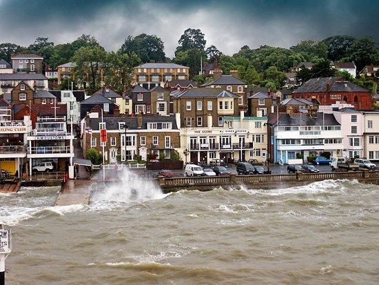 England, UK: Entering Cowes harbour, Isle of Wight, after a stormy ferry crossing