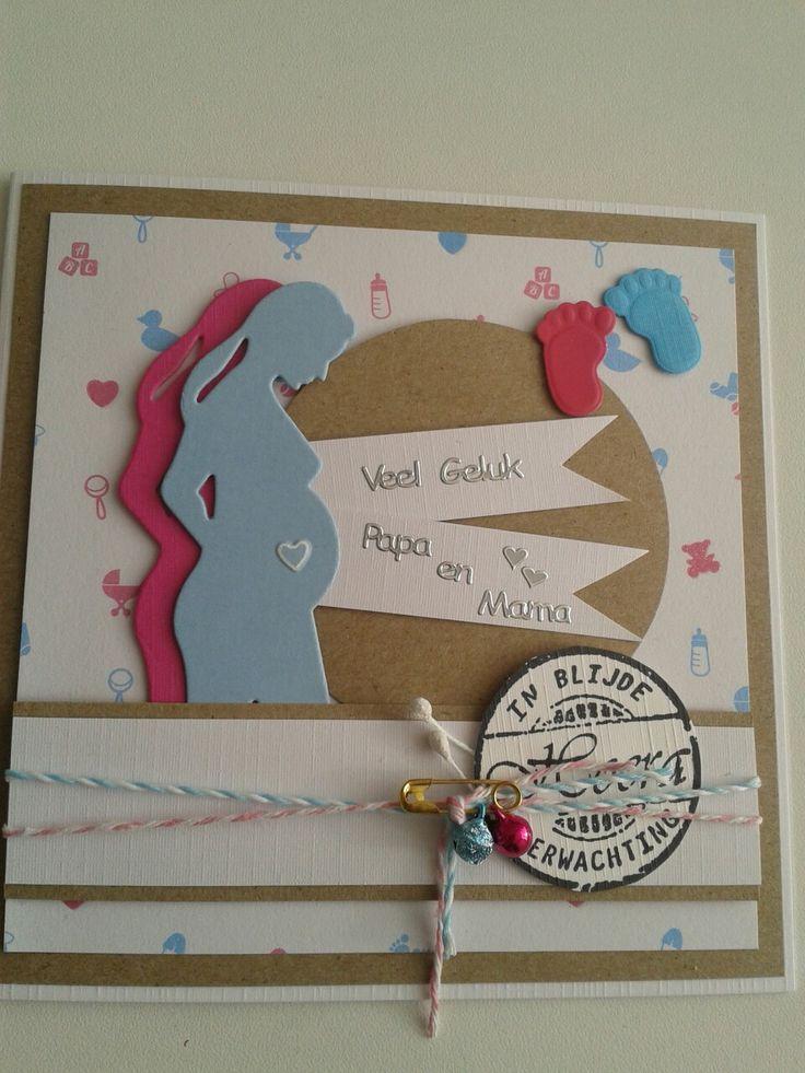 Jullie zijn zwanger kaart in roze,blauw met labels en voetjes.