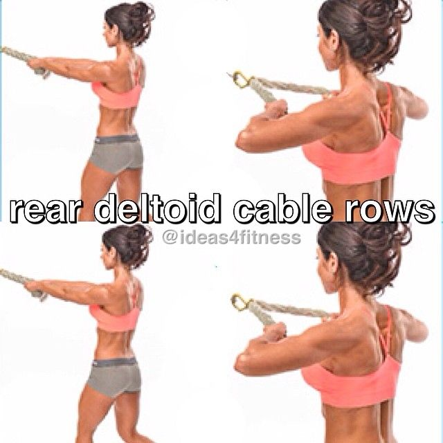 Set the cable pulley about shoulder height with a rope attached. Take a few steps back to get tension in the pulley. Set feet in a shallow lunge position. Pull elbows back and slightly up, thinking about initiating the exercise with the rear deltoid and not the hands. Slowly release the weight, keeping body stable. Tip: To keep this exercise out of your trapezius muscle and in your deltoid, keep your neck relaxed and your shoulders pressed down.